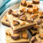 This recipe for chocolate peanut butter fudge is a layered treat made with two types of fudge and BUTTERFINGER® Cup Eggs. This fudge is the perfect addition to any celebration and is made in the microwave in less than 10 minutes! #EggcellentTreats ad