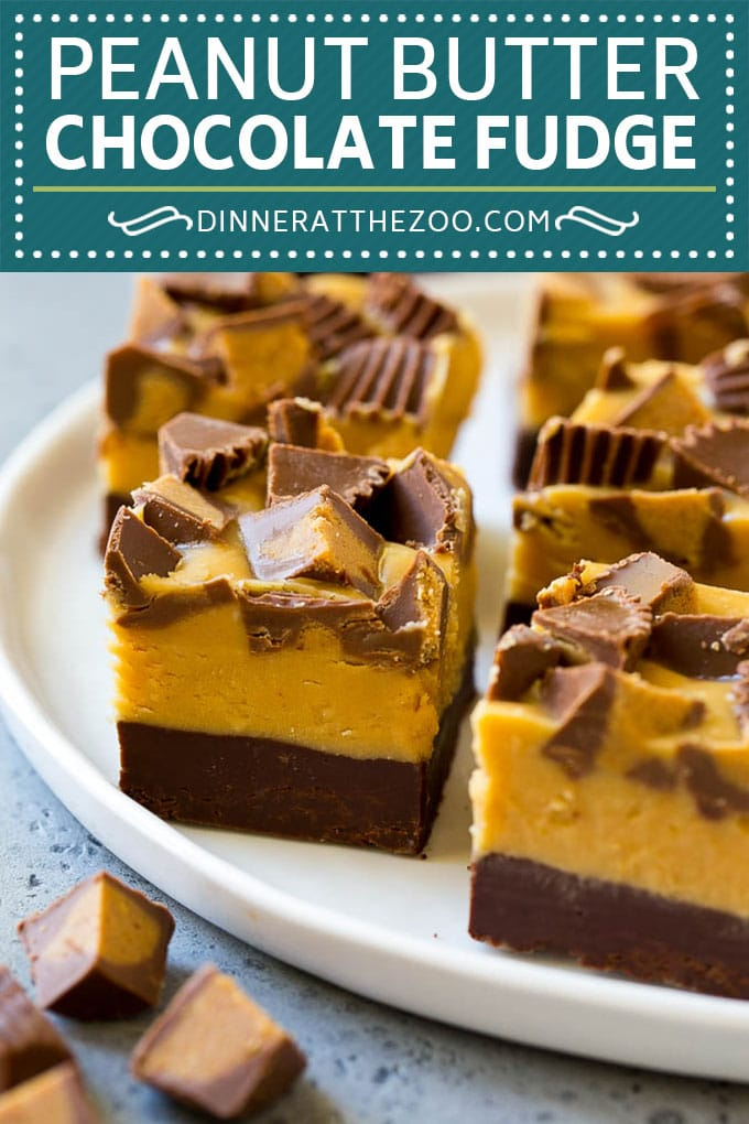 Chocolate Peanut Butter Fudge Recipe | Peanut Butter Cup Fudge | Easy Fudge Recipe #chocolate #peanutbutter #fudge #baking #dessert #dinneratthezoo