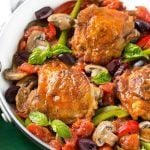 This recipe for one pot Italian chicken cacciatore is a classic dish made with braised chicken and an assortment of vegetables, all cooked together in a flavorful tomato sauce for an easy dinner with less dishes at the end. #YesYouCAN ad