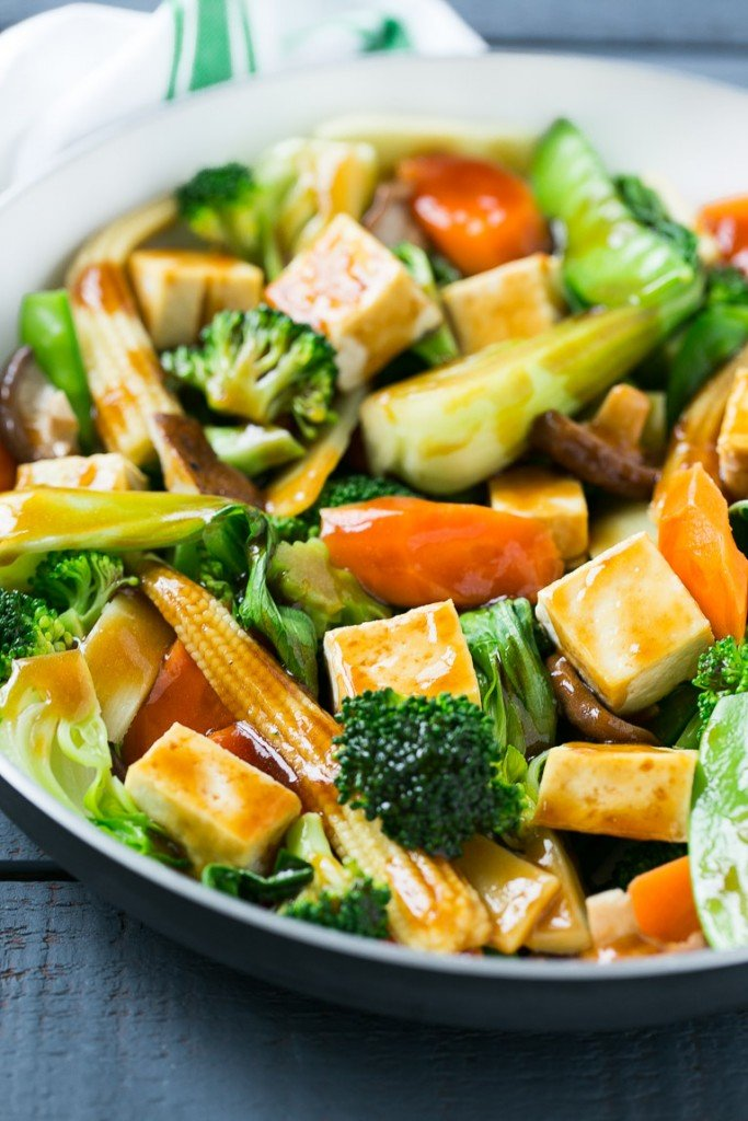Buddha's delight with tofu, bok choy and a variety of other veggies in a light sauce.