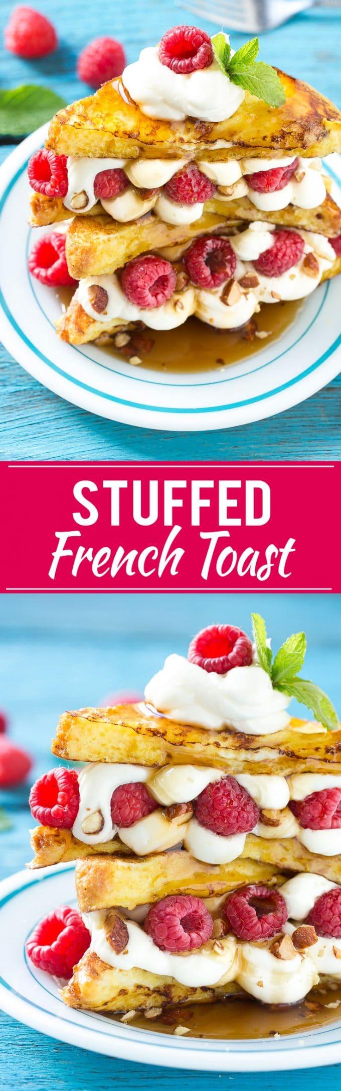 Stuffed French Toast | Cream Cheese Stuffed French Toast | French Toast Recipe #frenchtoast #raspberry #creamcheese #breakfast #brunch #dinneratthezoo