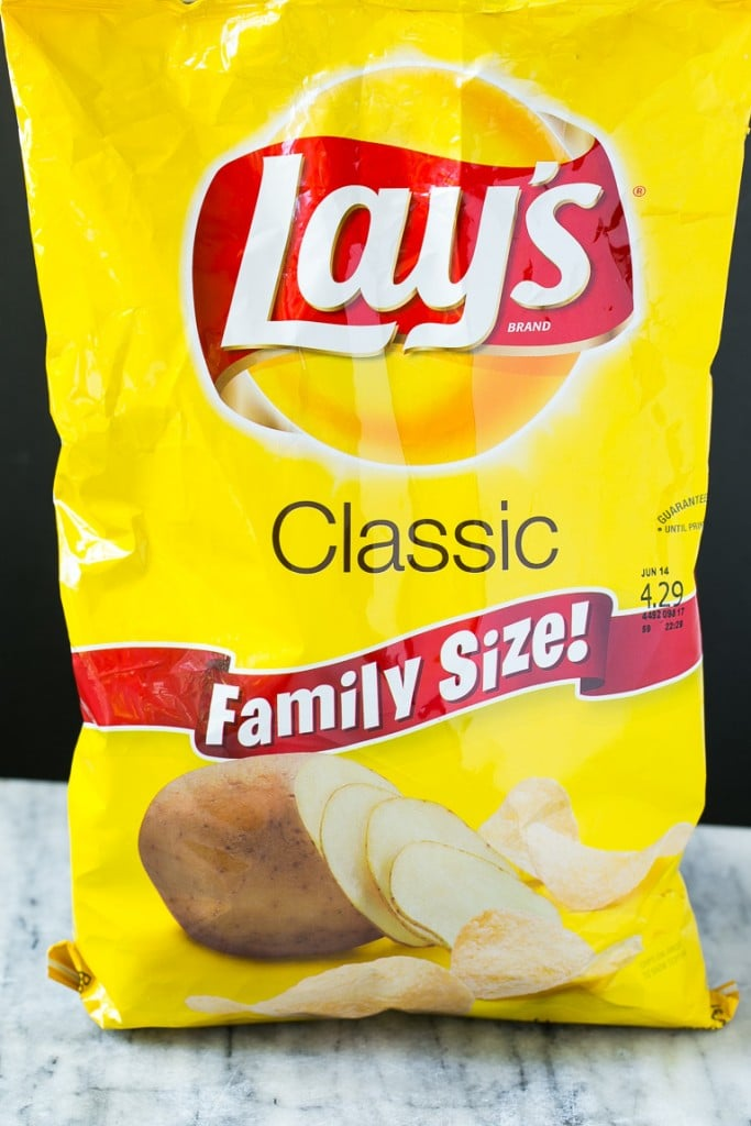 A bag of Lay's classic potato chips.