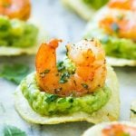 This recipe for Mexican shrimp bites is seared shrimp and guacamole layered onto individual potato chips. A super easy appetizer that's elegant enough for entertaining! #ad