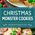 Christmas Monster Cookies Recipe | Oatmeal Cookies | Peanut Butter Cookies | M&M's Cookies #baking #cookies #dessert #peanutbutter #chocolate #dinneratthezoo #christmas #sprinkles