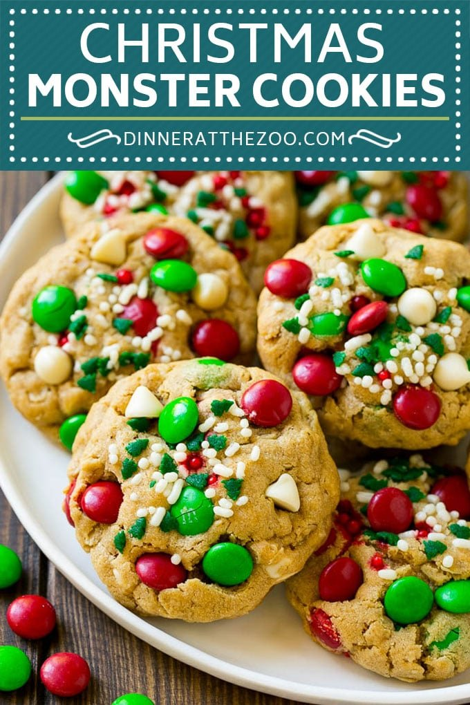 Christmas Monster Cookies Recipe | Oatmeal Cookies | Peanut Butter Cookies | M&M's Cookies #baking #cookies #dessert #peanutbutter #chocolate #dinneratthezoo #christmas #sprinkles
