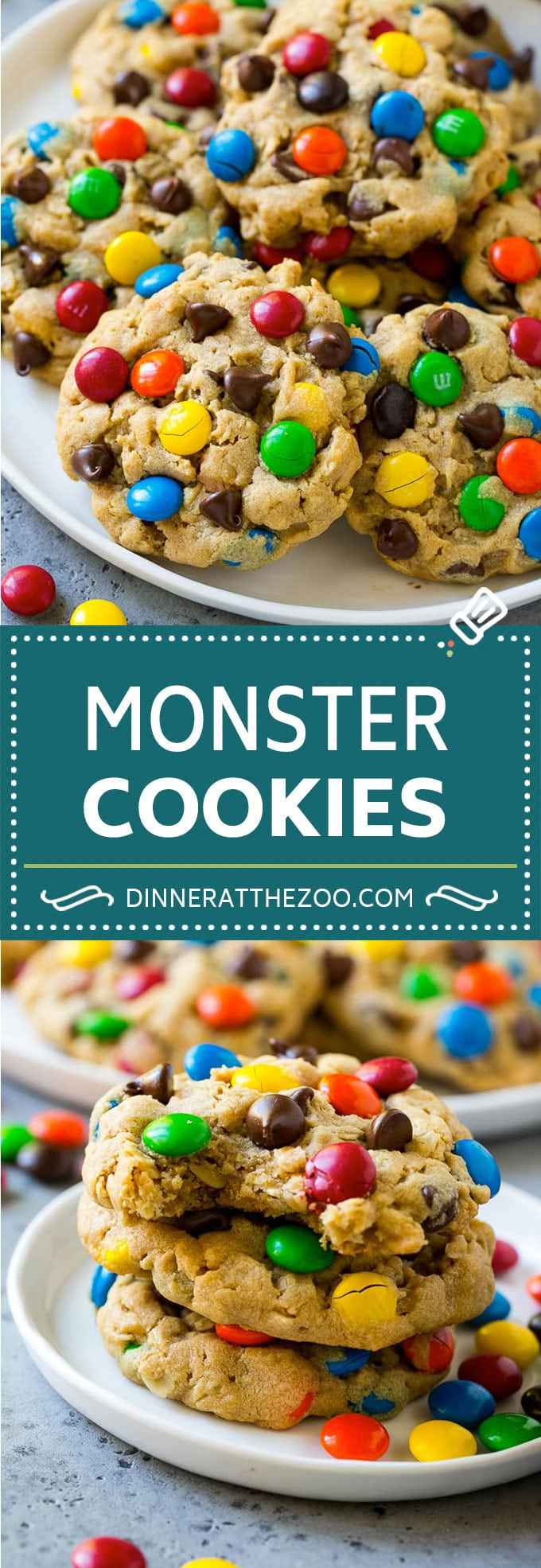 Monster Cookies Recipe | Oatmeal Cookies | Peanut Butter Cookies | M&M's Cookies #baking #cookies #dessert #peanutbutter #chocolate #dinneratthezoo