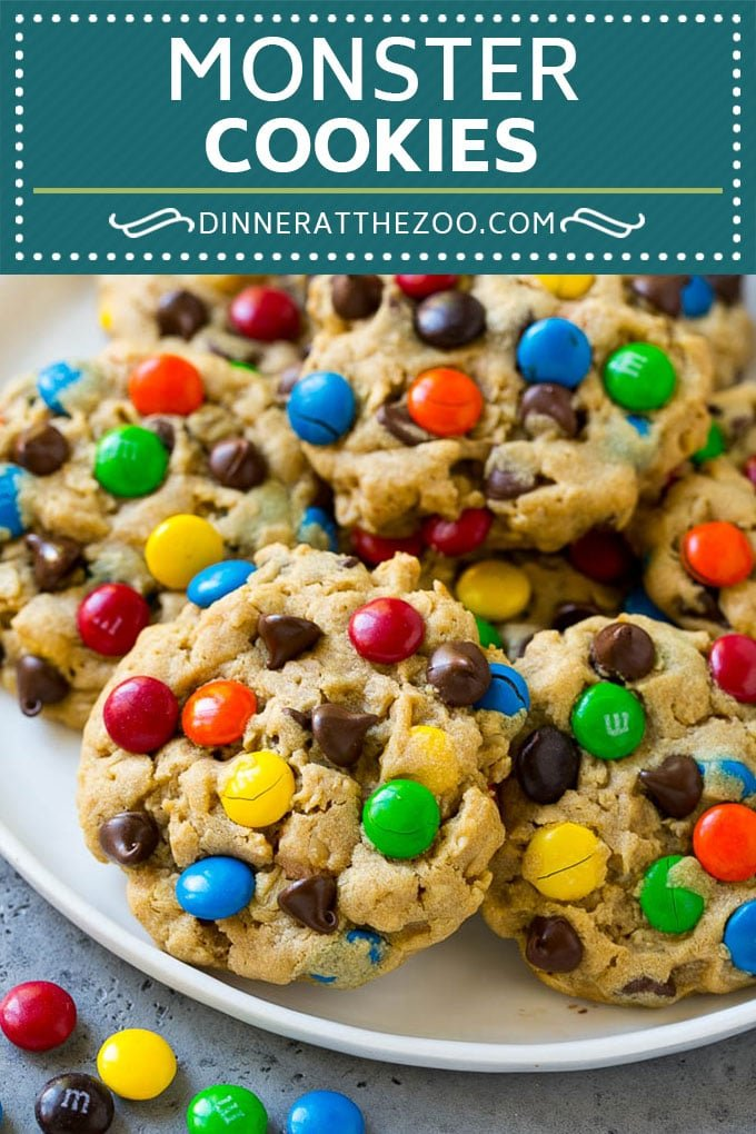Monster Cookies Recipe   Oatmeal Cookies   Peanut Butter Cookies   M&M's Cookies #baking #cookies #dessert #peanutbutter #chocolate #dinneratthezoo