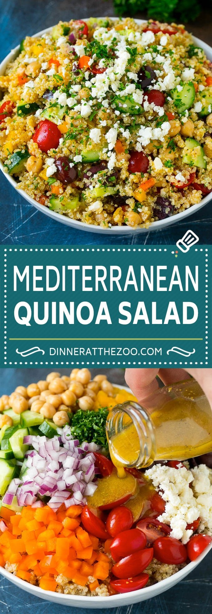 Mediterranean Quinoa Salad Recipe | Healthy Quinoa Salad | Chopped Salad #quinoa #healthy #cleaneating #lunch #dinner #dinneratthezoo