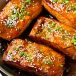 Salmon fillets covered in a homemade teriyaki sauce.