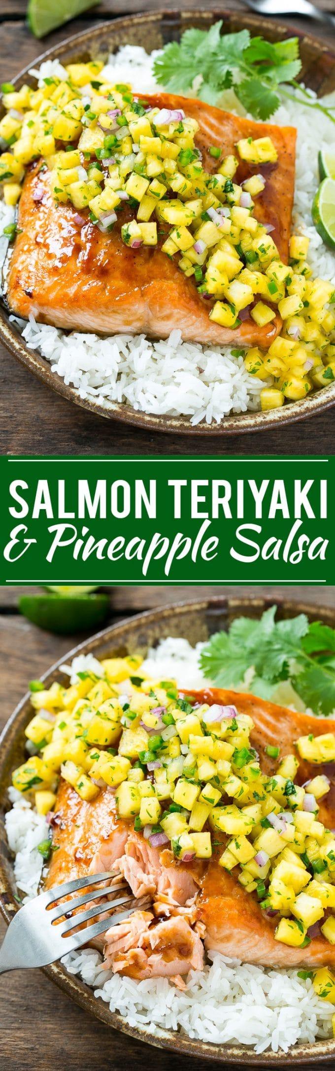 Salmon Teriyaki with Pineapple Salsa   Salmon Teriyaki   Best Salmon Teriyaki   Easy Salmon Teriyaki   Pineapple Salsa