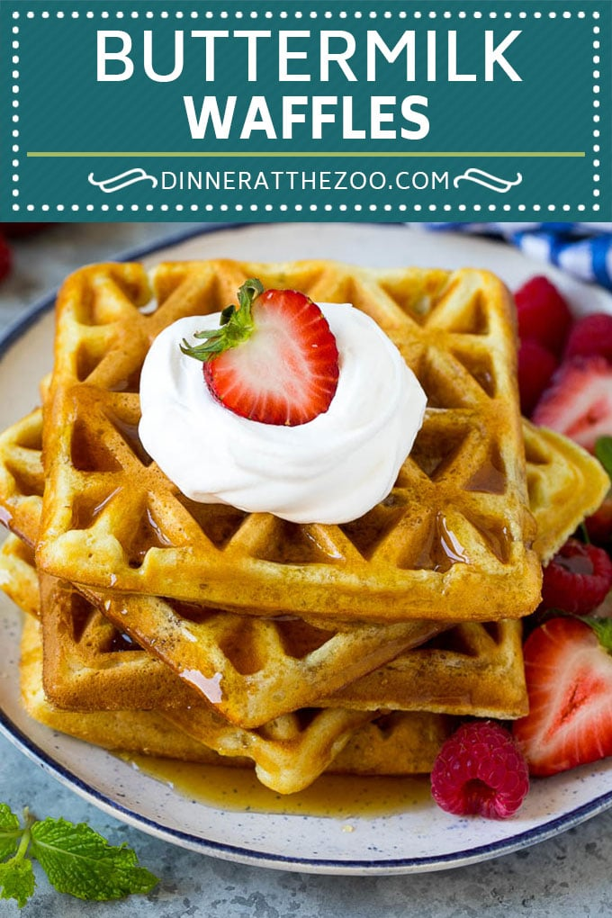 Buttermilk Waffles Recipe | Homemade Waffles #waffles #breakfast #brunch #dinneratthezoo