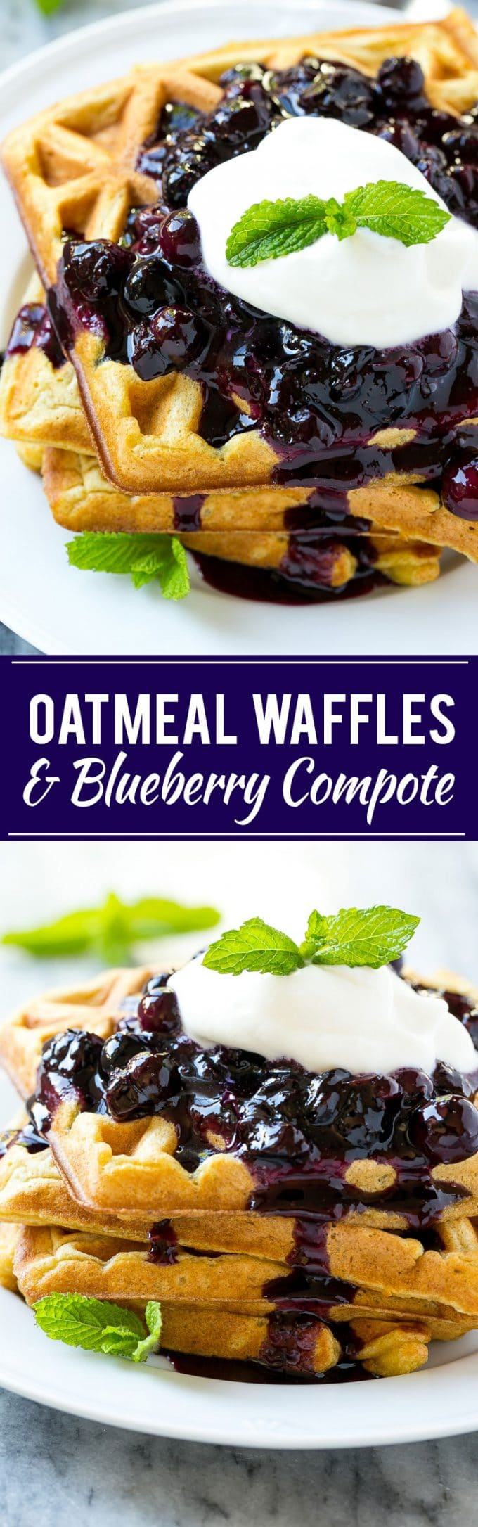 Oatmeal Waffles with Blueberry Compote Recipe   Easy Oatmeal Waffles   Best Oatmeal Waffles   Blueberry Compote