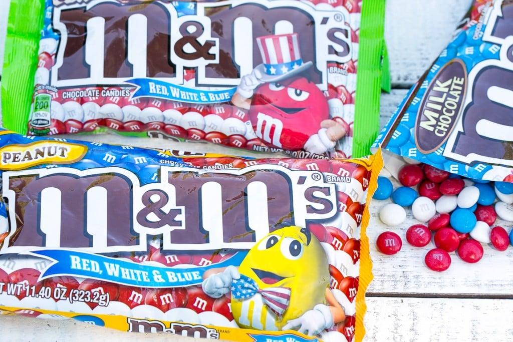 Bags of patriotic colored M&M's.