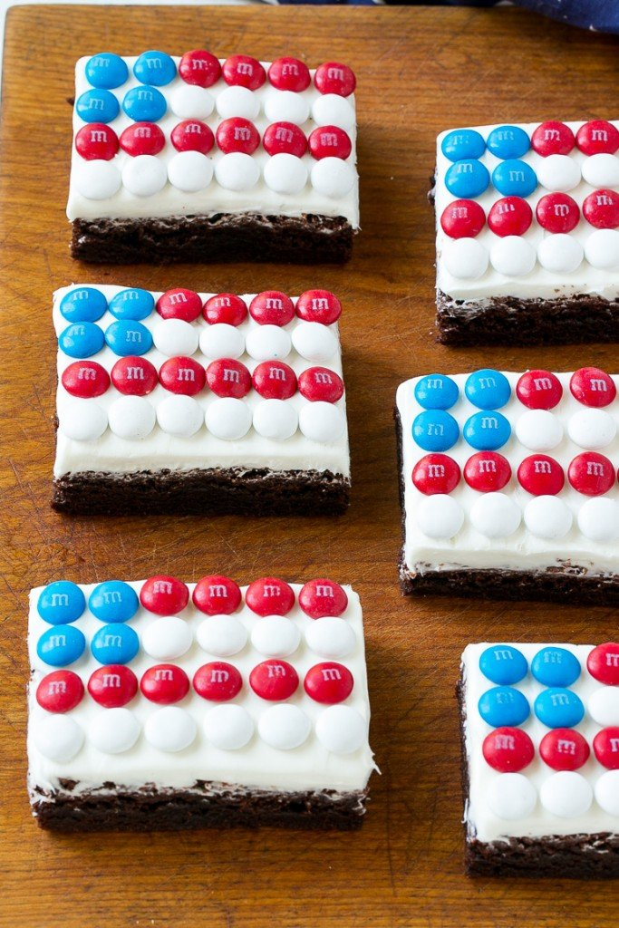 Brownies decorated to look like American flags.