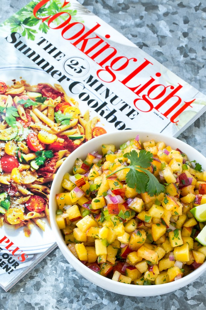 This recipe for peach salsa is the ultimate summer condiment. Juicy ripe peaches, herbs, and a bit of jalapeno creates a sweet and spicy salsa that's perfect with chips, on fish or chicken, or even on a sandwich!