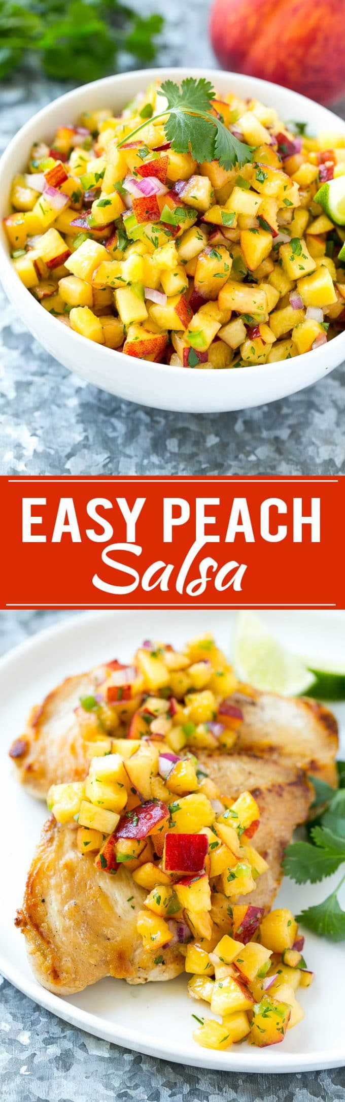 This recipe for peach salsa is the ultimate summer condiment. Juicy ripe peaches, herbs, and a bit of jalapeno creates a sweet and spicy salsa that's perfect with chips, on fish or chicken, or even on a sandwich! #adv