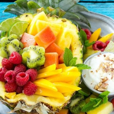 Tropical Fruit Salad with Coconut Almond Dip