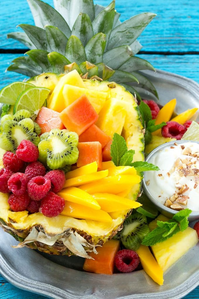 Tropical Fruit Salad With Coconut Almond Dip Dinner At