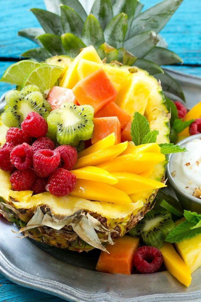 Tropical Fruit Salad with Coconut Almond Dip - Dinner at ...