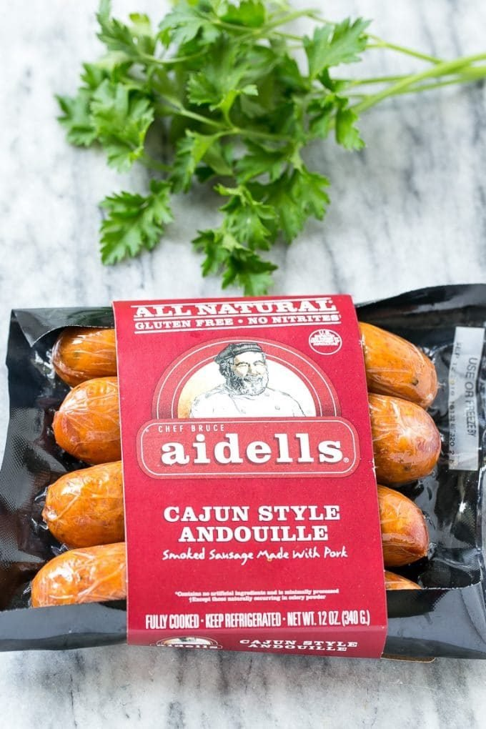 A package of Aidells smoked andouille sausage.
