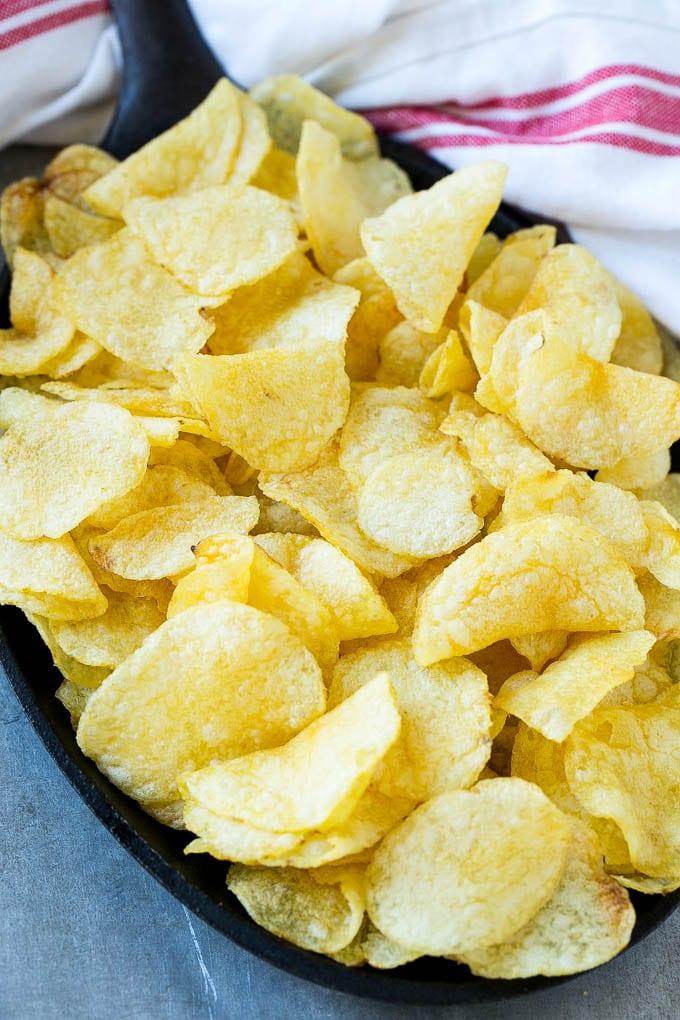 Kettle chips form the base of Irish Nachos.