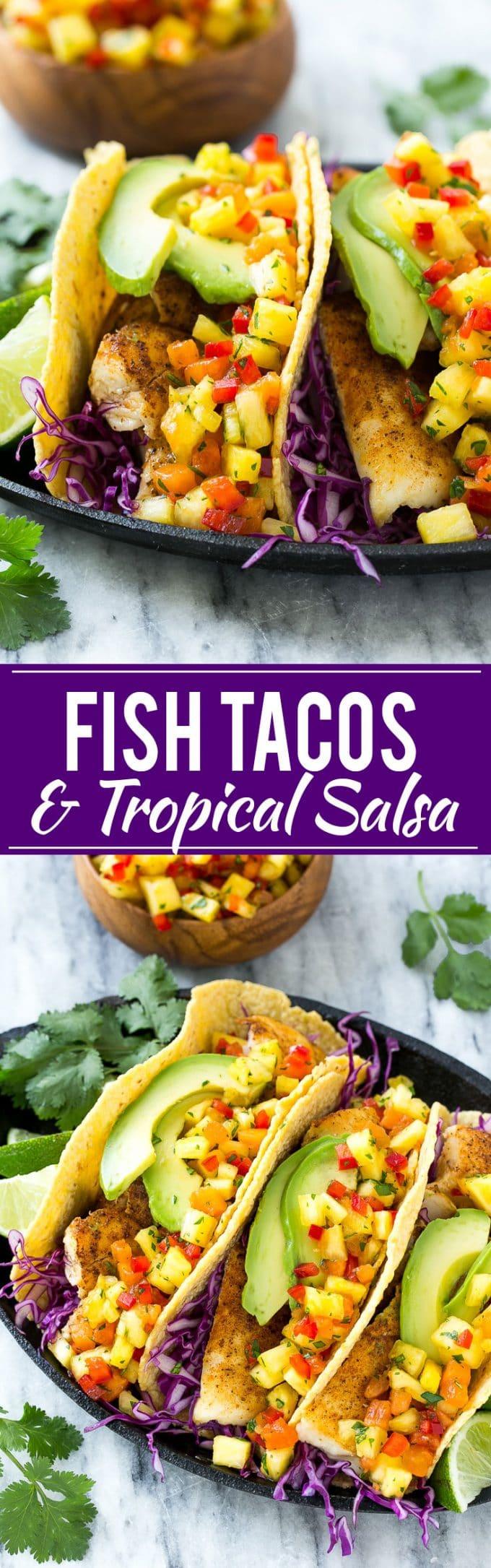 Tilapia Fish Tacos with Tropical Salsa Recipe | Tilapia Fish Taco Recipe | Easy Fish Tacos | Tropical Fish Tacos | Grilled Fish Tacos | Best Fish Tacos | Healthy Tilapia Recipe | Easy Fish Dinner