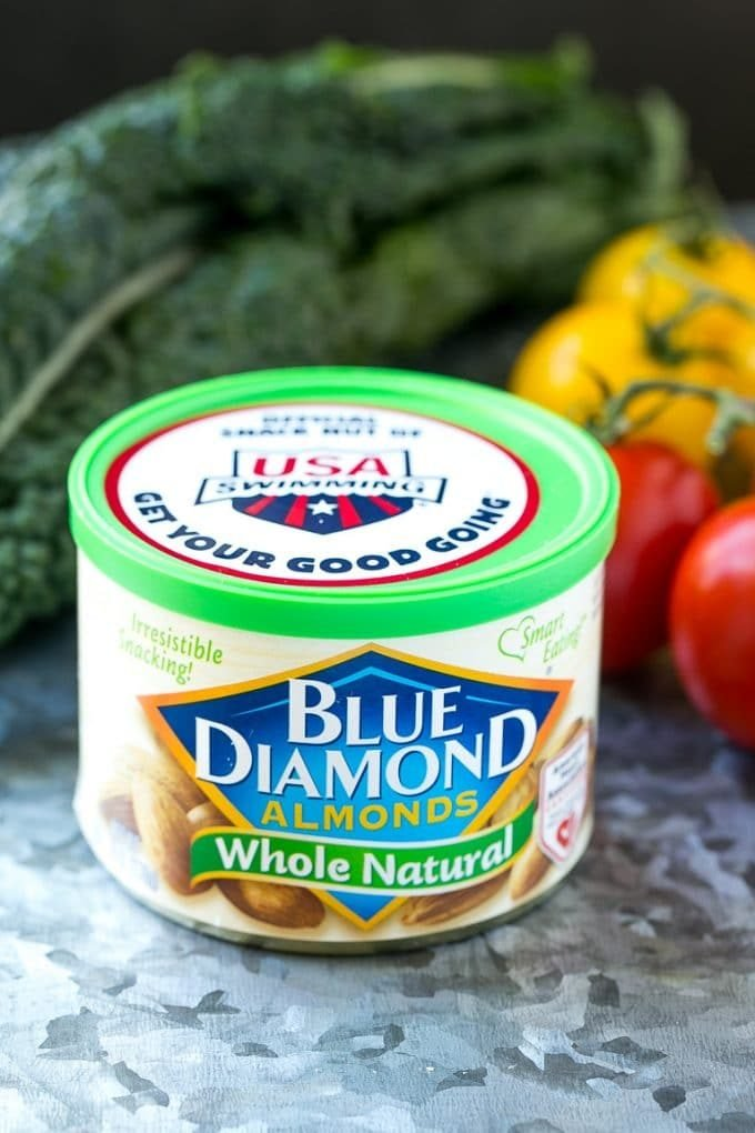 A can of Blue Diamond Whole Natural Almonds.