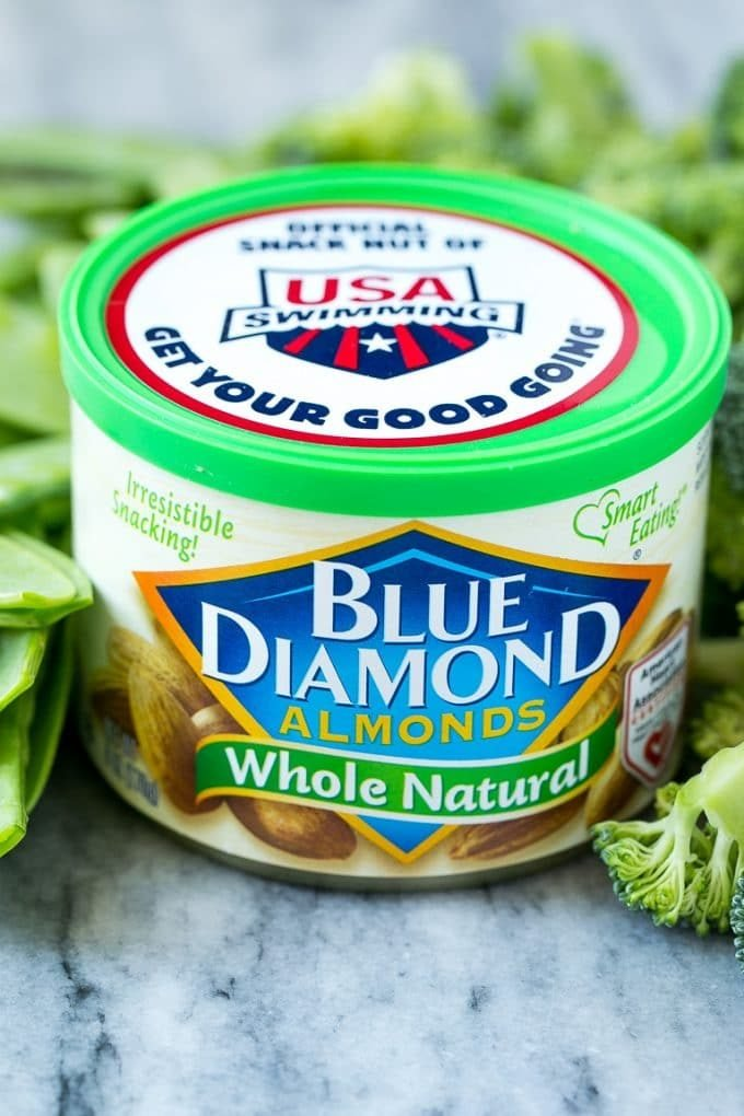 A can of natural Blue Diamond Almonds.