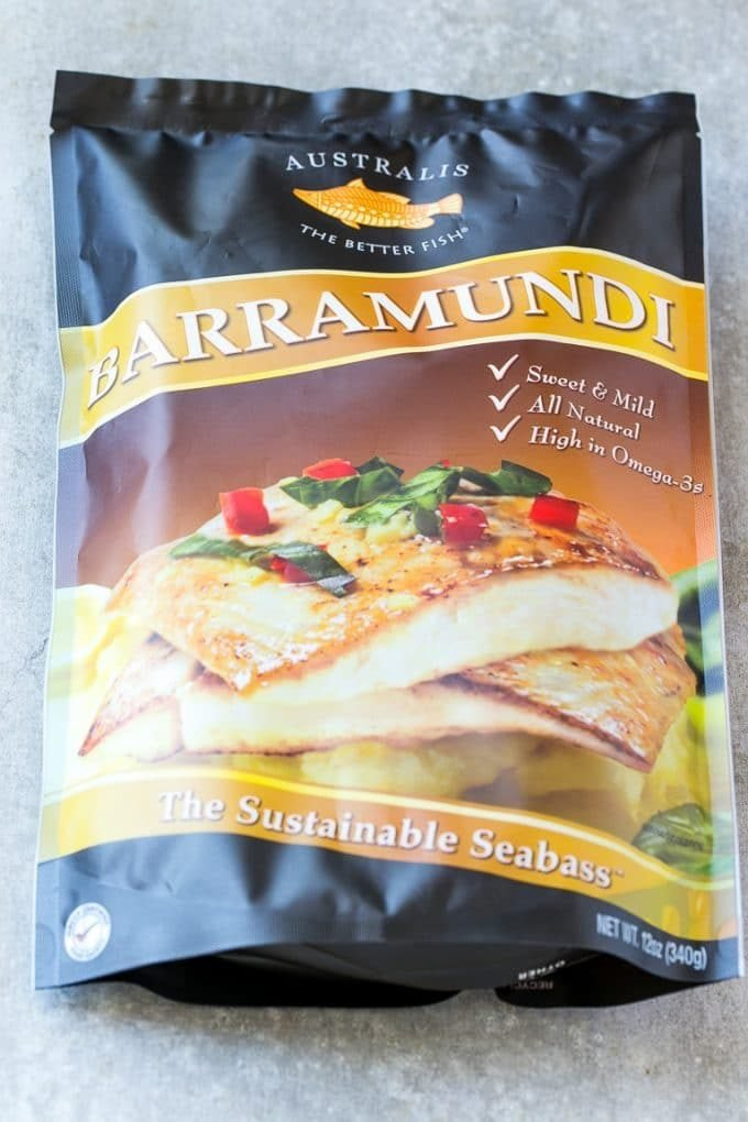 A bag of frozen Australis Barramundi fish.