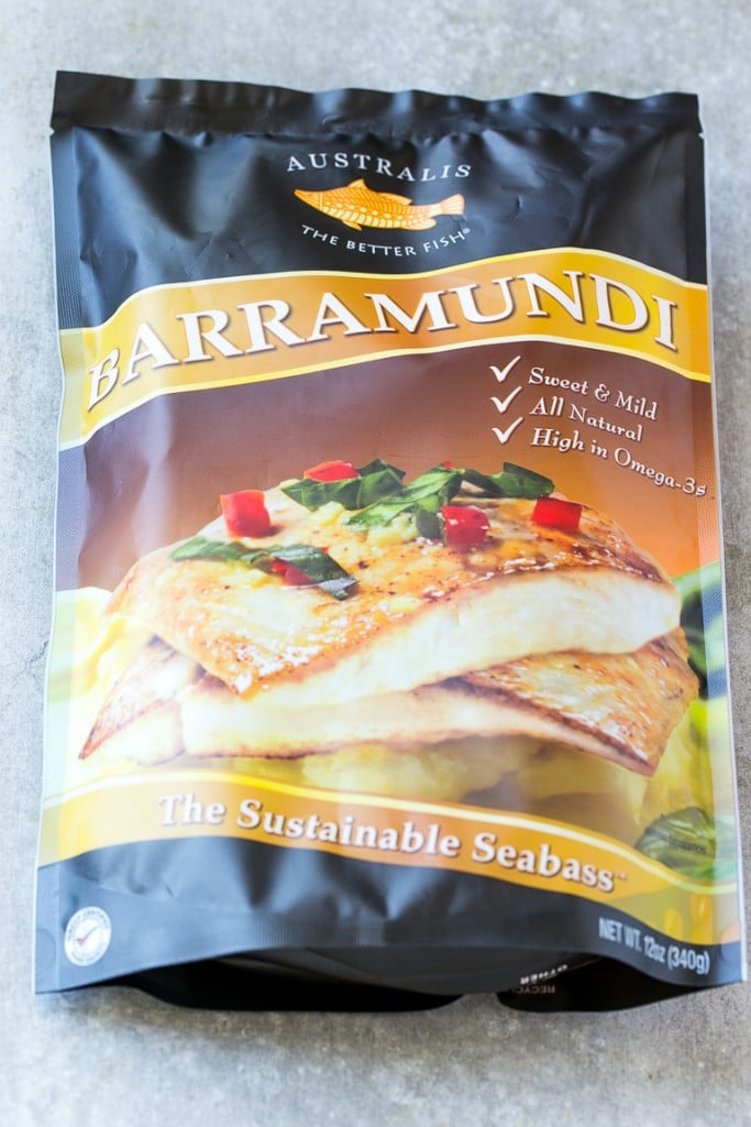 A bag of frozen Australis Barramundi fish.