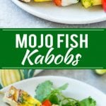 This recipe for mojo fish kabobs is skewers of mild fish, pineapple and peppers, all flavored with a bright and zesty sauce and grilled to perfection. An unexpected yet delicious appetizer! TheBetterFish AD