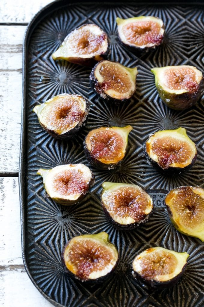 A pan of sugar roasted figs.
