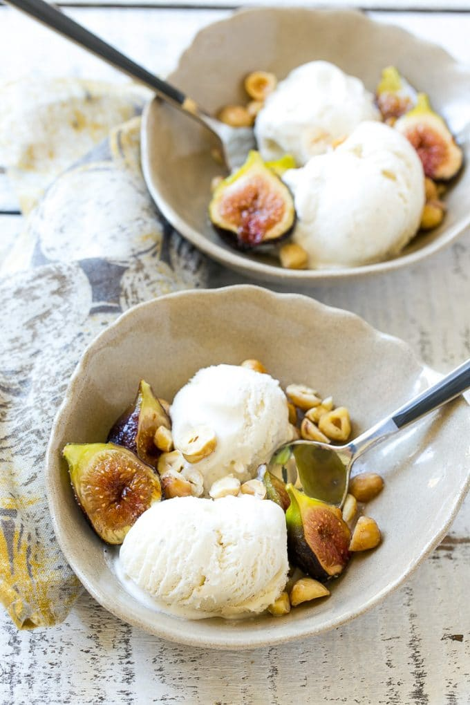 Spice Roasted Figs with Hazelnuts and Vanilla Ice Cream - Dinner at ...