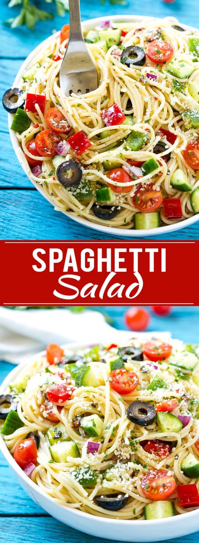 Spaghetti Salad Recipe | Pasta Salad | Potluck Recipe | Easy Pasta Salad