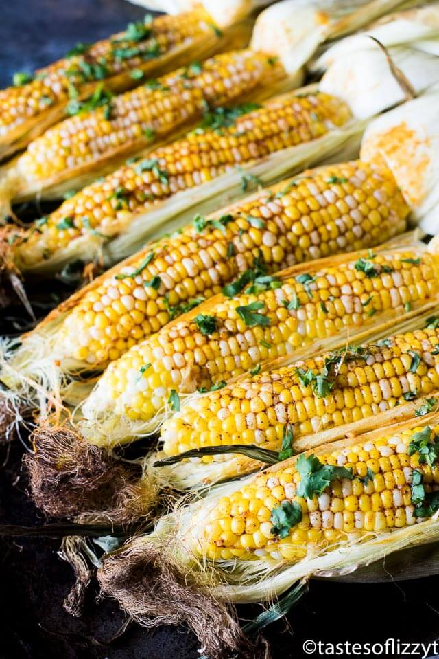 Oven roasted corn with chili butter.