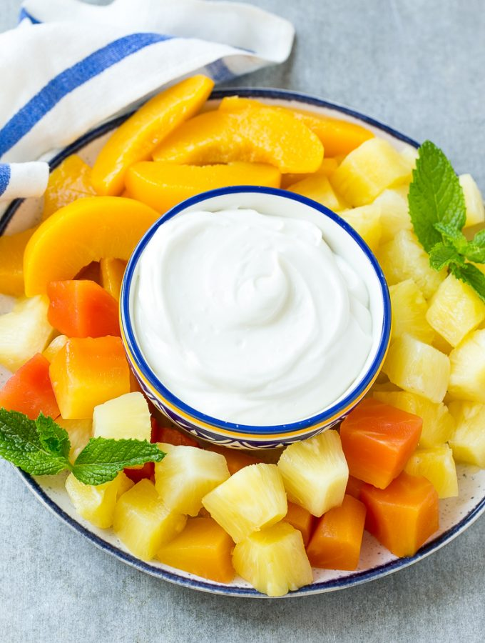 This recipe for cream cheese fruit dip is a light and creamy 3 ingredient dip that's perfect with your favorite fruit. FruitOnDemand AD