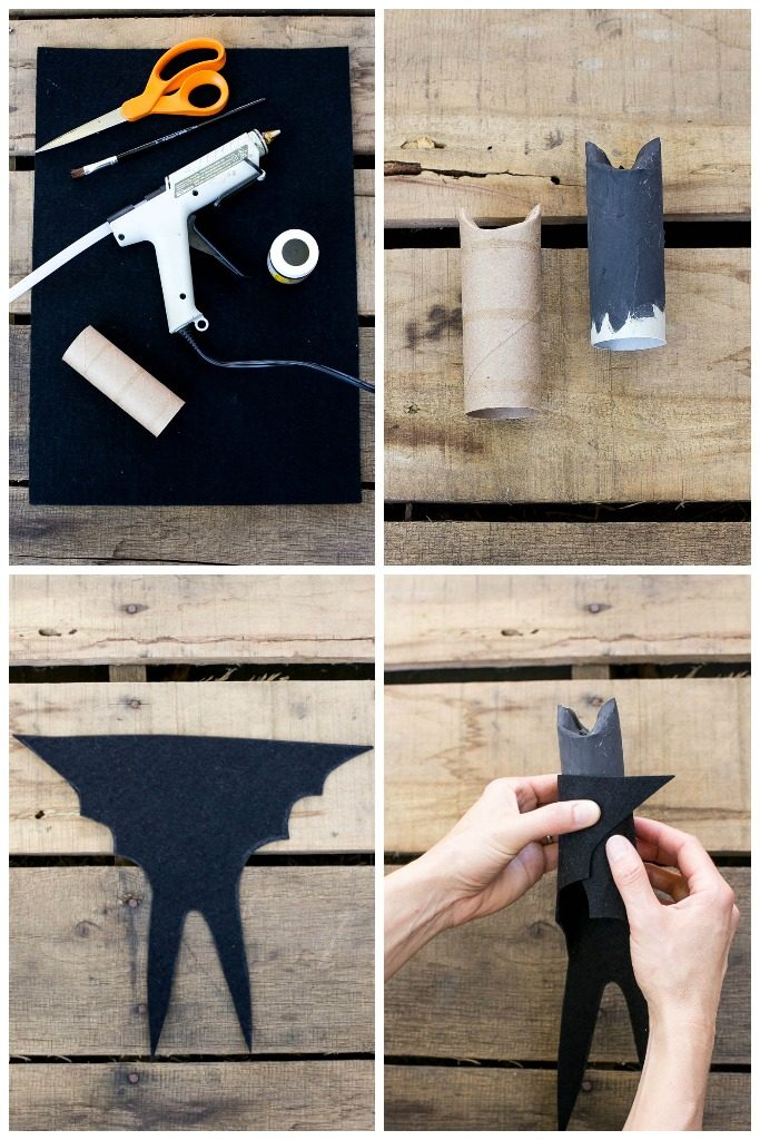 Make your own Halloween bat decorations out of toilet paper tubes!