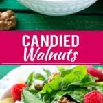 This recipe for candied walnuts is walnut halves coated in a sweet cinnamon sugar mixture and baked to crispy and crunchy perfection. Candied walnuts are perfect for salads, snacking or package them up for a fun homemade gift idea!
