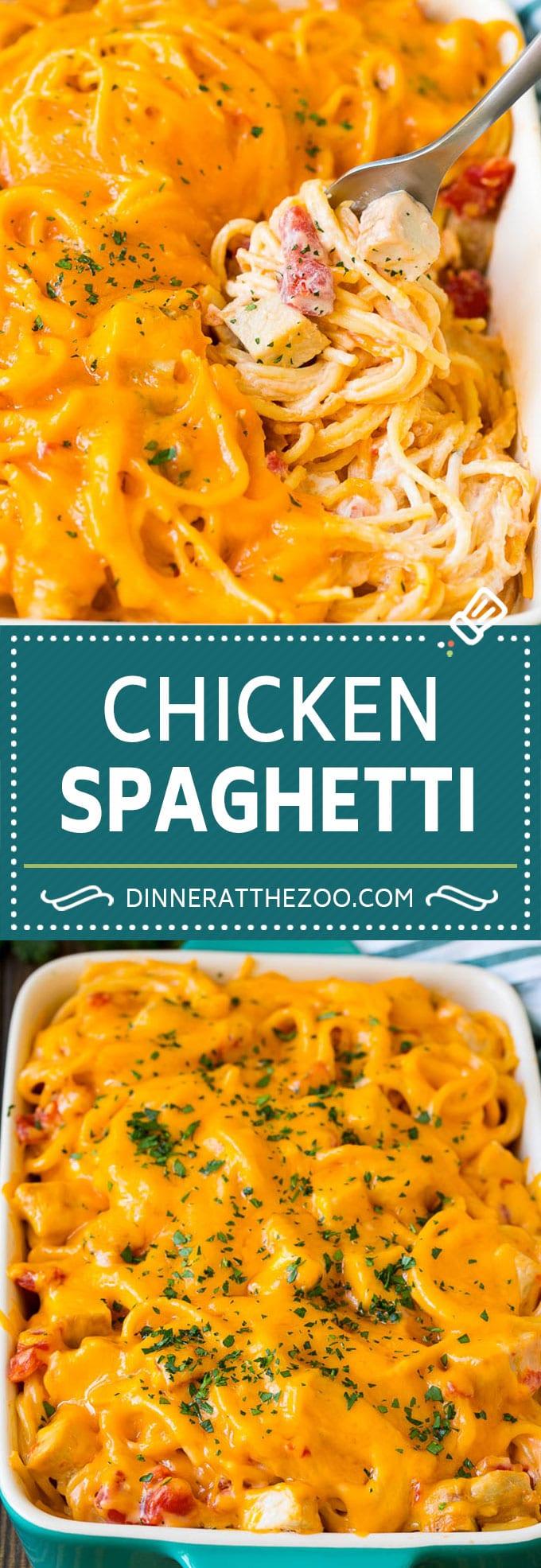 Chicken Spaghetti Recipe | Baked Spaghetti #pasta #spaghetti #chicken #cheese #casserole #dinner #dinneratthezoo