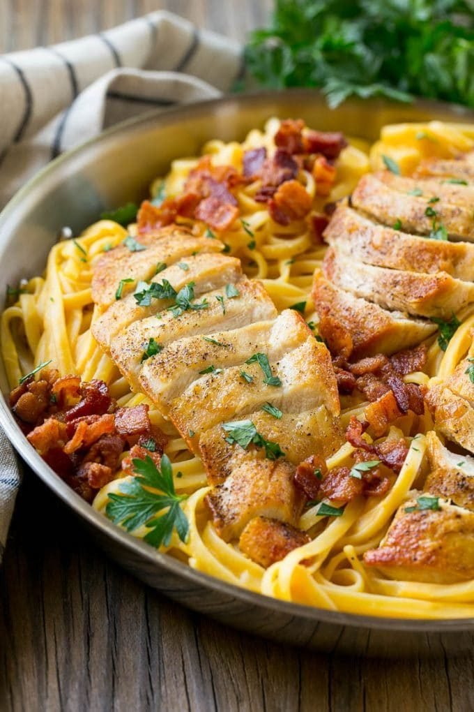 Sauteed chicken breast over butternut pasta.
