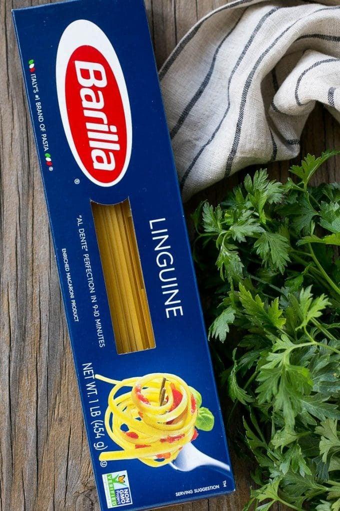Barilla linguine pasta.