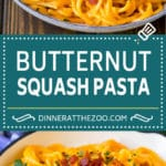 Butternut Squash Pasta Recipe #pasta #squash #bacon #fall #dinner #dinneratthezoo