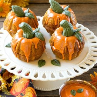 These adorable pumpkin spice cakes are the perfect show stopping dessert for your holiday celebration!