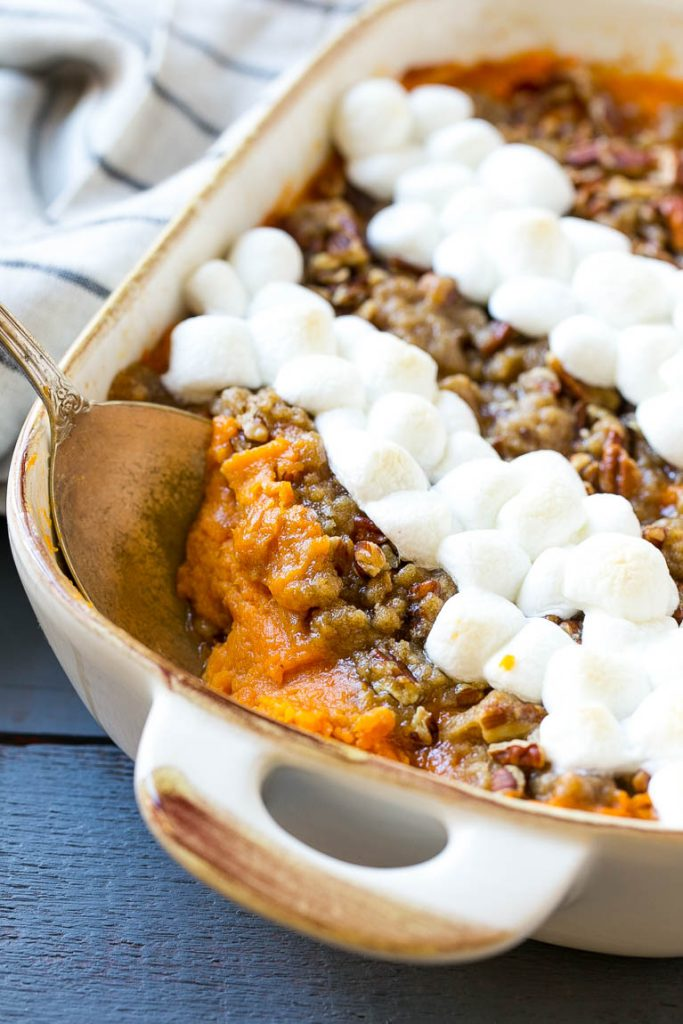 for a sweet potato casserole with marshmallows is mashed spiced sweet ...