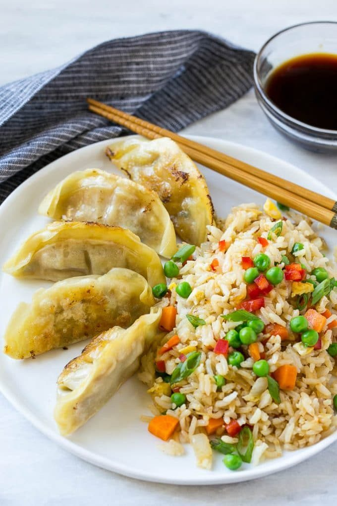 Potstickers served with vegetarian fried rice.