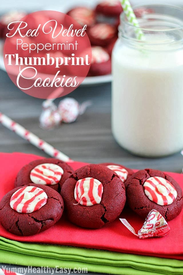 Red Velvet Peppermint Thumbprint Cookies