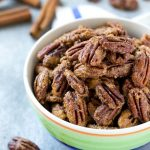 This recipe for candied pecans is pecan halves coated in a sweet cinnamon sugar mixture and baked to crispy and crunchy perfection. Candied pecans are perfect for salads, snacking or package them up for a fun homemade gift idea!