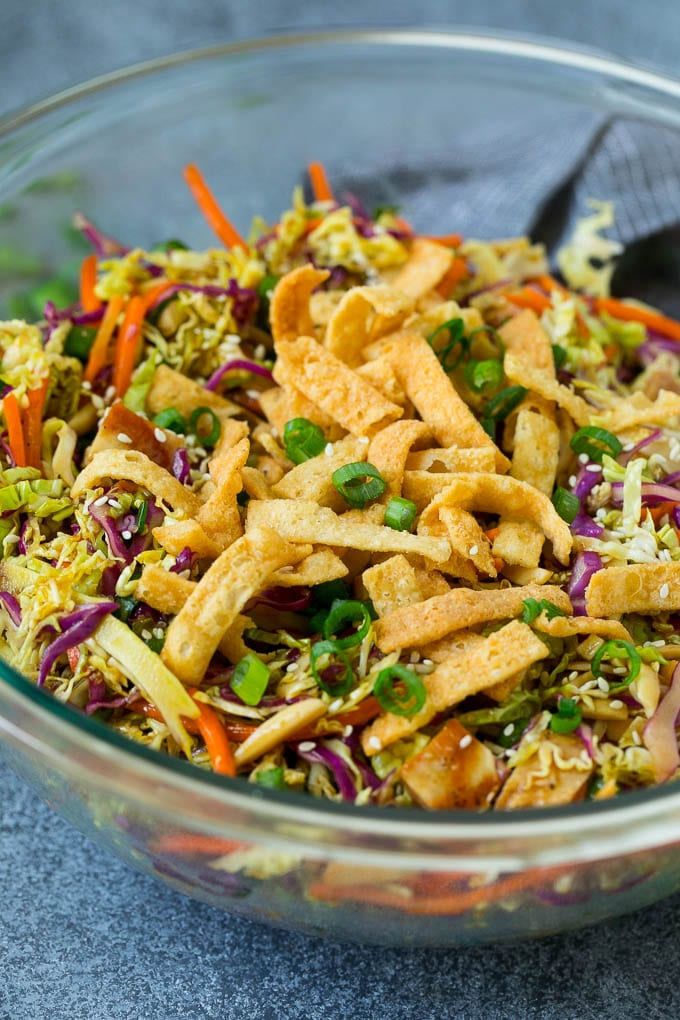 Chinese chicken salad with cabbage, carrots and crispy wonton strips.