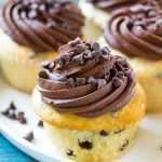 This recipe for chocolate chip cupcakes is tender white cake studded with plenty of chocolate, topped with chocolate frosting and more chocolate chips. The perfect treat for any celebration!