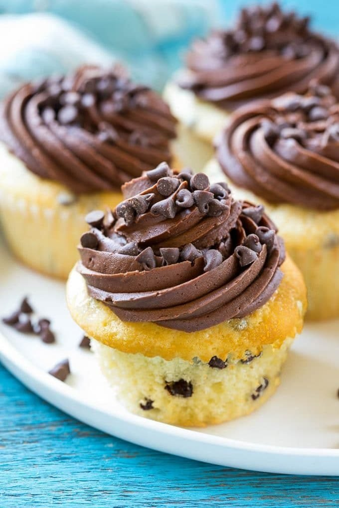 A plate full of chocolate chip cupcakes topped with chocolate frosting and more chocolate chips.